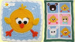 Chick & Bunny Baby Blanket - Crochet Pattern & Tutorial - Big Fancy Granny Squares