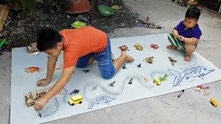 Trò Chơi Bé Vẽ Xe Chạy ❤ ChiChi ToysReview TV ❤ Đồ Chơi Trẻ Em Baby Doll Drawing
