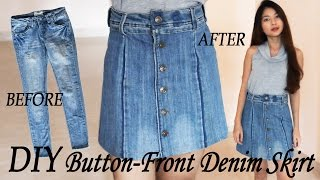 DIY Turn Your Old Jeans Into Skirt | Button Front Denim Skirt From Pants | Clothes Transformation