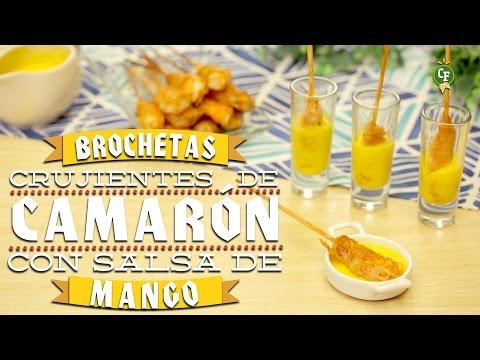 ¿Cómo preparar Brochetas Crujientes de Camarón con Salsa de Mango? - Cocina Fresca