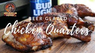 Pit Barrel Cooker Chicken Quarters with Beer & Honey BBQ Sauce