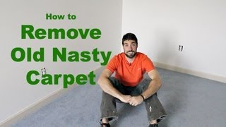 How to Remove Old Nasty Carpet (DIY)