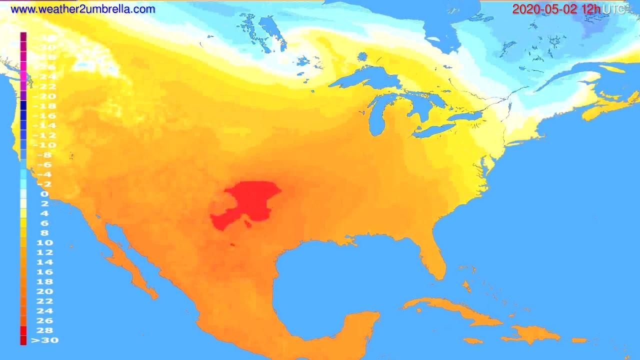 Temperature forecast USA & Canada // modelrun: 00h UTC 2020-05-02