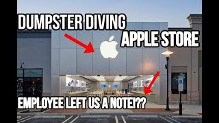 APPLE STORE EMPLOYEE LEFT US A NOTE!! DUMPSTER DIVING APPLE STORE!!