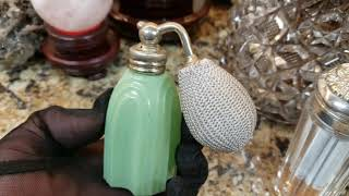 Today I Was Able To Fix An Antique Art Deco DeVilbiss Jadeite Glass Perfume Atomizer Bottle