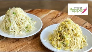 Classic Korean Vegetable Side Dish: Soy & Myung Beans Sprouts (콩나물-숙주나물무침) Includes A SIMPLE BiB
