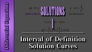 Differential Equations: Solutions (Level 1 of 4) | Interval of Definition, Solution Curves