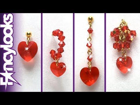 DIY Cuatro modelos Pendientes de corazón de cristales Swarovski