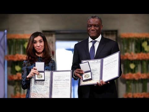 العرب اليوم - شاهد: لحظة تسلّم نادية مراد ودنيس مكويجي جائزة نوبل للسلام