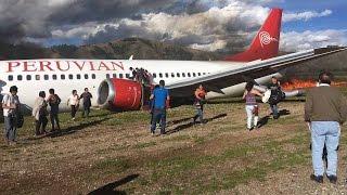 תיעוד מפחיד: מטוס פרואני עולה באש, הנוסעים ניצלו בנס