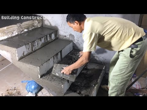 How To Building Stair - Design Construction Rendering Sand And Cement For Step Stairs Brick