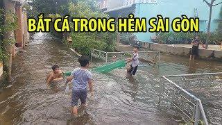 Hẻm Sài Gòn thành SÔNG trẻ em quăng lưới bắt cá