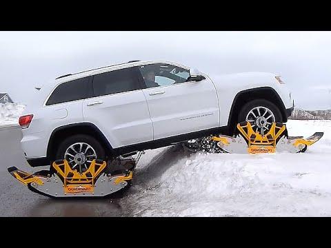 どんな雪道だってへっちゃら。ワンタッチで装着できる車用キャタピラー