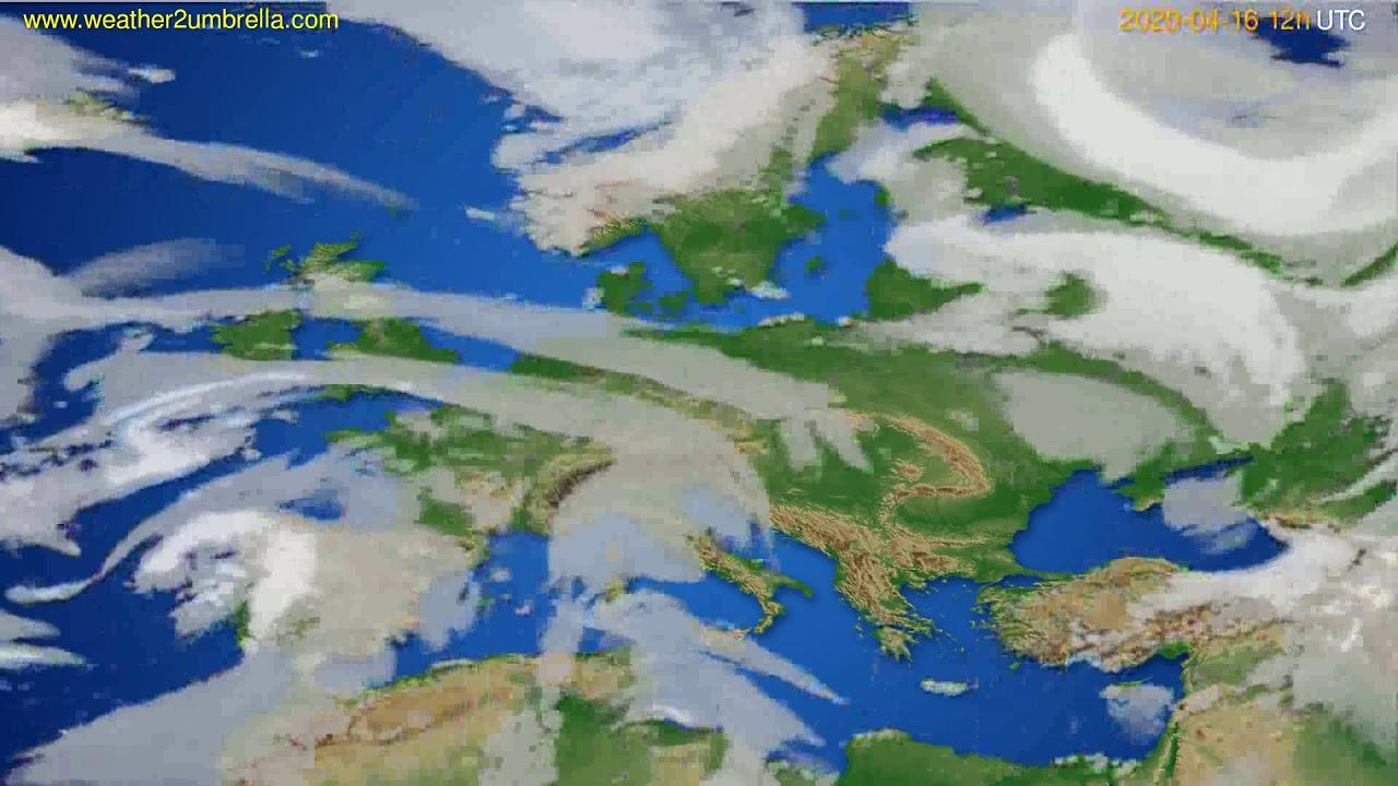 Cloud forecast Europe // modelrun: 00h UTC 2020-04-16