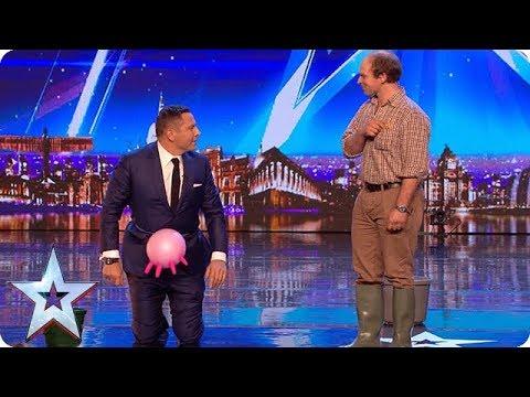 Farmer Julian Ellis turns David Walliams into a cow   Auditions Week 1   Britain's Got Talent 2018