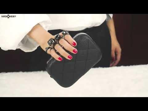 Women's Skull Ring Purse / Vintage plaid Luxury party Clutch Purse