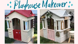 KIDS DREAM PLAYHOUSE MAKEOVER // Little Tikes Playhouse DIY project