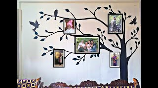Easy & DIY Wall Painting Family Tree Art Design For Photo Frames