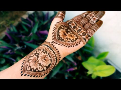 beautiful lotus mehndi design for front hand by soni
