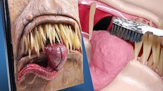 SO REALISTIC! Making a Fleshy Monster Sketchbook Cover - Polymer Clay Sculpting Timelapse Tutorial