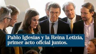 Pablo Iglesias y la Reina Letizia comparten su primer acto oficial