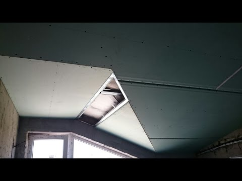 гипсокартонный потолок на мансарде. Plasterboard mansard ceiling.