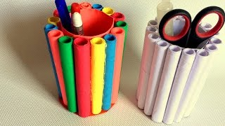 DIY- How To Make Pen Stand /pencil Holder / Desk Organiser From Paper? Paper Craft Idea.