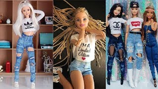 Cutest & Easy DIY Barbie Clothes ❤️ High Waisted Shorts, Jeans for Barbie, Bodice Top