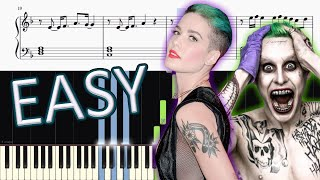 Thirty Seconds To Mars & Halsey - Love Is Madness - EASY Piano Tutorial + SHEETS