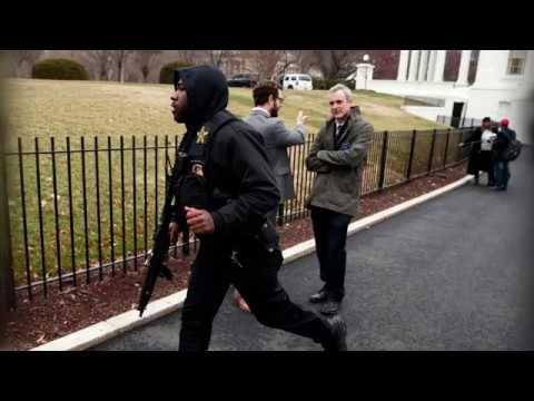 Lockdown at White House after van hits security barrier