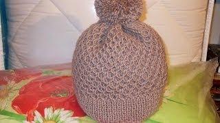 Смотреть онлайн Вязание спицами шапки, урок