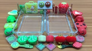 Mixing Makeup and Clay Into Clear Slime ! Green Vs Red Special Series Part 8 Relaxing Slime