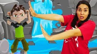 Valerias Spielzeug Kindergarten. PJ Masks und Ben Ten retten die Stadt. Spielzeugvideo für Kinder