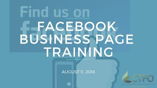 Team Genesis Facebook Business Page Training - August 11, 2018