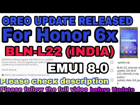 how to update honor 6x to oreo via ota without pc Bln-l22
