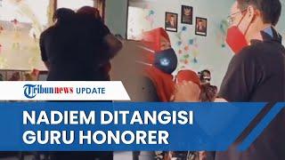 Viral Video Seorang Guru Wanita Menangis di Depan Nadiem Makarim, Curhat Gajinya Hanya Rp100 Ribu