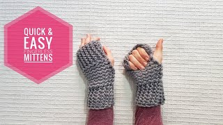 How To Loom Knit Quick & Easy Fingerless Mittens (DIY Tutorial)
