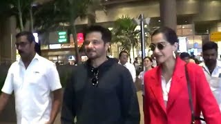 Sonam Kapoor & Anil Kapoor Spotted At Airport