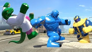 Dr Connors Becomes The Lizard vs Thanos vs A-BOMB(LEGO Marvel Super Heroes)