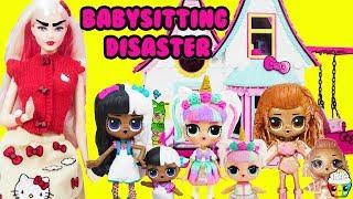 LOL Surprise BABYSITTING DISASTER Hello Kitty Barbie Mean Babysitter