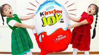 Suri & Annie Go On Giant Chocolate Kinder Joy Surprise Egg Hunt for Kids