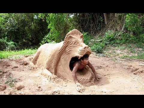 Primitive Technology, build lion​ house with Clay