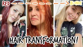 BLEACHING MY BRIGHT RED HAIR TO BLONDE! *yIkEs*
