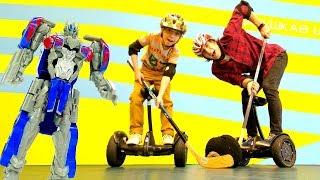 Гироскутеры vs. Мегатрон - соревнование. Игры для мальчиков на сегвейдроме.