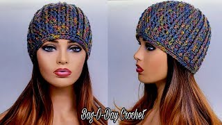 How To Crochet A Ribbed Beanie Hat - Bag-O-Day Crochet Tutorial #570