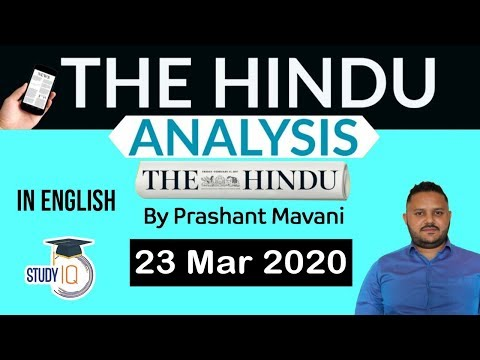 English 23 March 2020 - The Hindu Editorial News Paper Analysis [UPSC/SSC/IBPS] Current Affairs