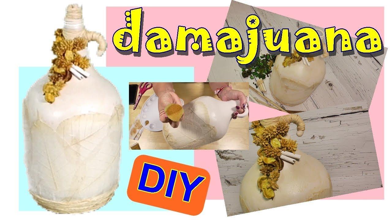 Como decorar una Damajuana o Botella de cristal con decoupage.