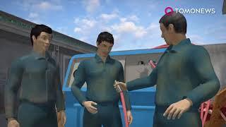 Коллеги надули японца... компресором через анус!  Он и взорвался...
