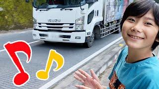 メロディライン!ダンプトラック&キャンピングガー&バイクetc 色んな乗り物の音を観察♪