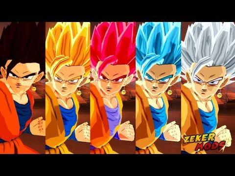 Gohan and Goku SSJ God Fusion into Gokhan Super Saiyan God (DBZ